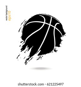 Basketball. A sporty abstract ball. Logo, symbol, print on the T-shirt. Grunge style. Dirty artistic design elements.