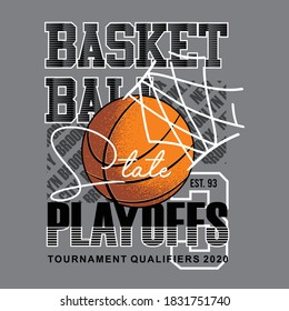 basketball, stay playoffs with illustration of basketball in net, typography - vector