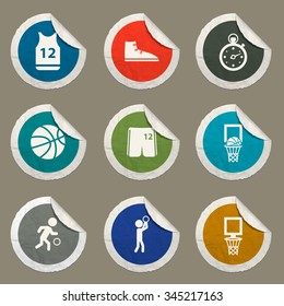 Basketball sticker icons for web