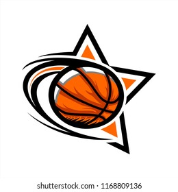 Basketball Swoosh Star Logo
