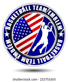 Basketball team emblem/logo with flag of the USA