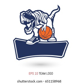 Basketball team logo template. Tyrannosaurus with the ball and team name box. Vector illustration.