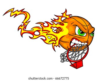 A basketball tears down the goal with his teeth while flames trail behind it.