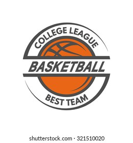 Basketball template. Logo, badge, emblem.