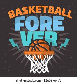 Basketball Themed Slogan T Shirt Print Design Vector Graphic
