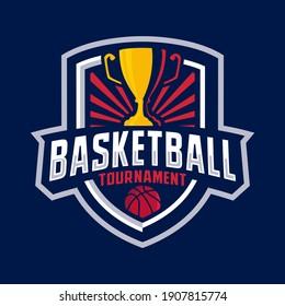 Basketball tournament badge logo design template