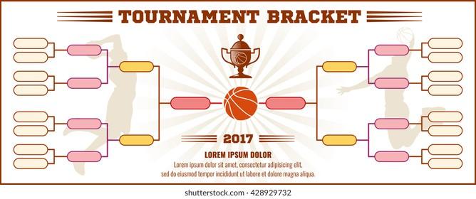 Basketball tournament bracket vector mockup. Infographic bracket sport basketball, template tournament chart basketball illustration