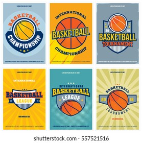 Basketball tournament  and championship posters set. Retro collection of colored basketball flyers, t-shirt graphic design. Vector illustration.
