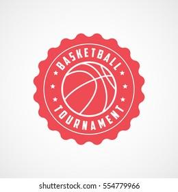 Basketball Tournament Emblem Red Flat Icon On White Background