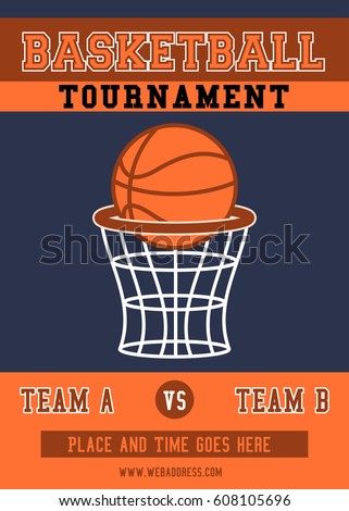 basketball tournament flyer poster template stock vector royalty