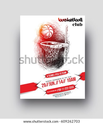 basketball tournament flyer poster template vector stock vector