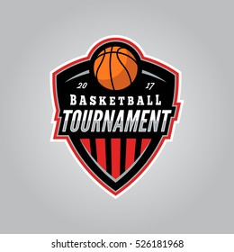 basketball tournament logo. modern sport emblem. vector illustration