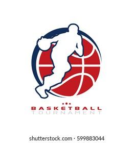 Basketball tournament logo. Silhouette of basketball player dribbling the ball isolated on white background.