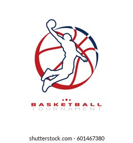 Basketball tournament logo. Silhouette of basketball player jump for the slam dunk isolated on white background.