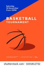 Basketball tournament minimal sport poster design. Vector illustration.