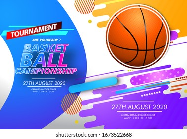 Basketball tournament, modern sports poster, banner, flyer, print and postcard design. Vector illustration.