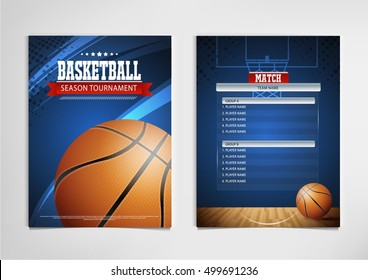Basketball tournament, modern sports posters vector design.