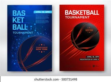 Basketball tournament, modern sports posters design. Vector illustration.