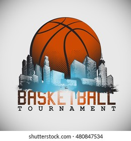 Basketball tournament Poster with buildings and skyscrapers