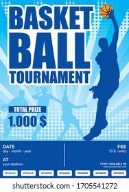 basketball tournament poster, with slamdunk man