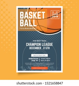 Basketball tournament posters , modern sports posters design . Illustration Vector is suitable  for social media , banner , poster , Flyer and related with basketball