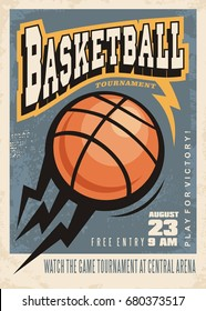 Basketball tournament retro poster design template. Basketball ball with thunder motion shapes and creative letterhead on dark blue background. Sport event ad.