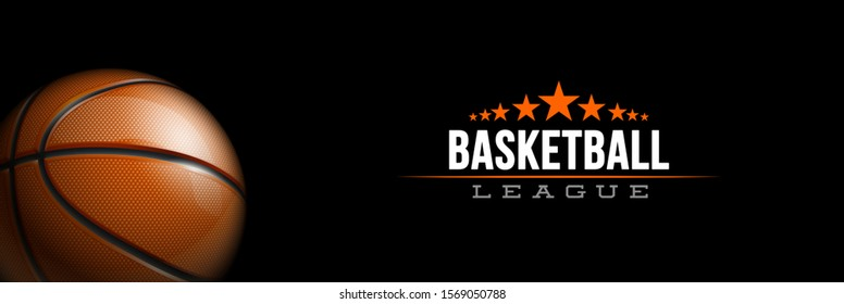 Basketball tournament sport poster design banner with 3d realistic shiny ball isolated on black background. luxury horizontal flyer Illustration Basketball championship template realistic orange ball