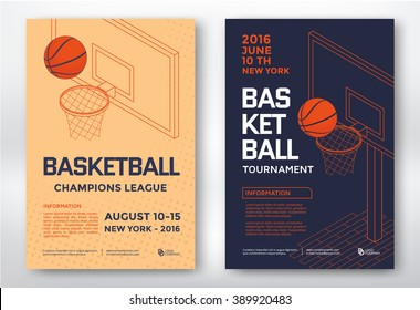 Basketball tournament sports posters design. Isometric basketball backboard. Vector illustration.