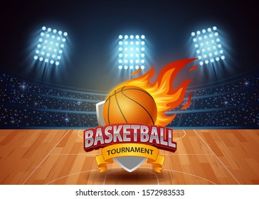 Basketball tournament with stadium background. vector illustration