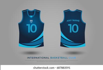 77541100b basketball t-shirt design uniform set of kit. basketball jersey template.  blue and