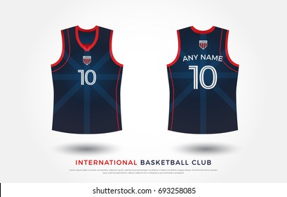 basketball t-shirt design uniform set of  kit. basketball jersey template. red and blue color, front and back view shirt mock up. japan basketball, volleyball club vector illustration