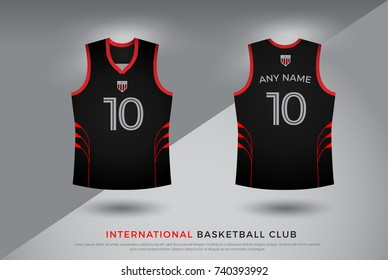 basketball t-shirt design uniform set of  kit. basketball, volleyball jersey template. black and red color, front and back view shirt mock up. Vector Illustration