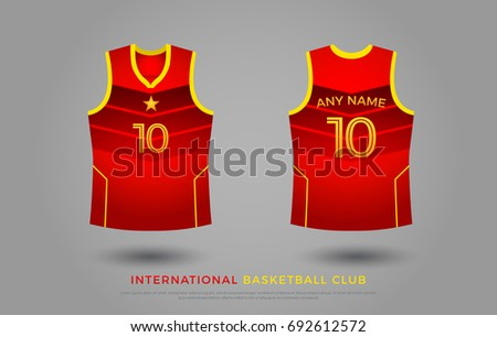 7464a6211 basketball t-shirt design uniform set of kit. basketball jersey template.  red and yellow color