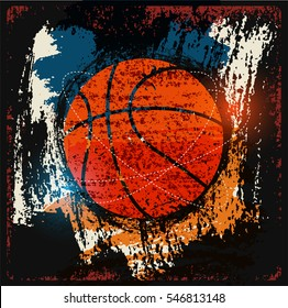 Basketball typographical vintage grunge style poster. Retro vector illustration.