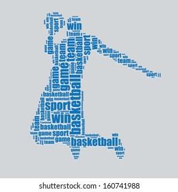 basketball typography 3d text word art basketball vector illustration word cloud