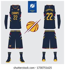 Basketball uniform mockup template design. Tank top t-shirt, sock, basketball shorts mockup for basketball jersey. Front view, back view basketball shirt. Flat sport logo design. Vector Illustration.
