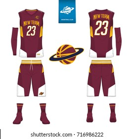 Basketball uniform, shorts, socks template for basketball club. Front and back view sport jersey. Tank top t-shirt mock up with basketball flat logo design on label. Vector Illustration.
