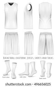 Basketball uniform: sleeveless top, shorts and socks. Front, back and side views. Vector illustration. Fully editable handmade mesh.