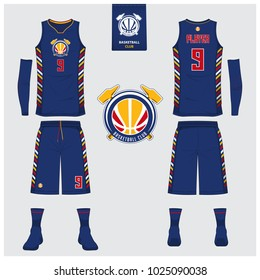 Basketball uniform or sport jersey, shorts, socks template for basketball club. Front and back view sport t-shirt design. Tank top t-shirt mock up with basketball flat logo design. Vector Illustration