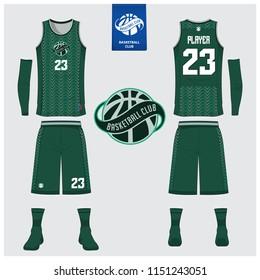Basketball Uniform Template Design Green Tank Stock Vector Royalty