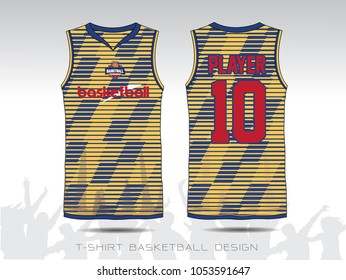 Basketball uniform or sport jersey template for basketball club. Front and back view sport t-shirt design. Tank top t-shirt mock up with basketball flat logo design. Vector Illustration