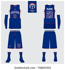 Basketball uniform template design. Blue and White Tank top t-shirt mockup for basketball club. Front view and back view sport jersey. Vector Illustration.