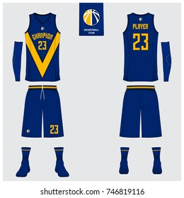 8b5b24adcaec Front. Basketball uniform template design. Blue and Yellow Tank top t-shirt  mockup for basketball