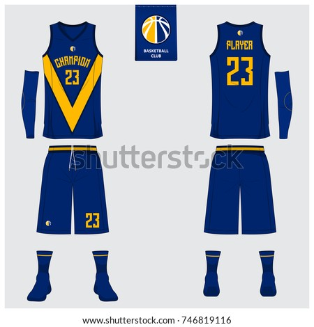 basketball uniform template design blue yellow のベクター画像素材
