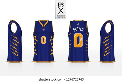 Basketball uniform template design for basketball club. Tank top t-shirt mockup for basketball jersey. Front view, back view and side view basketball shirt. Vector Illustration.