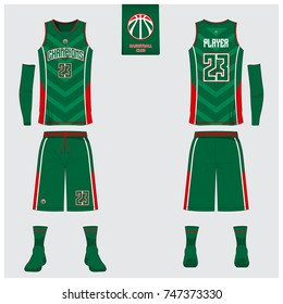 Basketball uniform template design. Green tank top t-shirt mockup for basketball club. Front view and back view sport jersey. Vector Illustration.