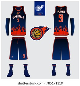 Basketball uniform template design. Tank top t-shirt mockup for basketball jersey. Front view and back view basketball shirt. Vector Illustration.