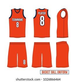 Basketball Uniform Vector Template orange blue
