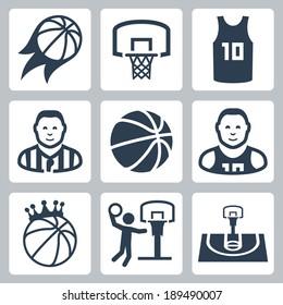Basketball vector icons set
