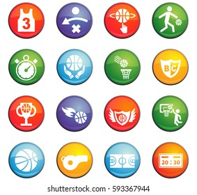 basketball vector icons for user interface design